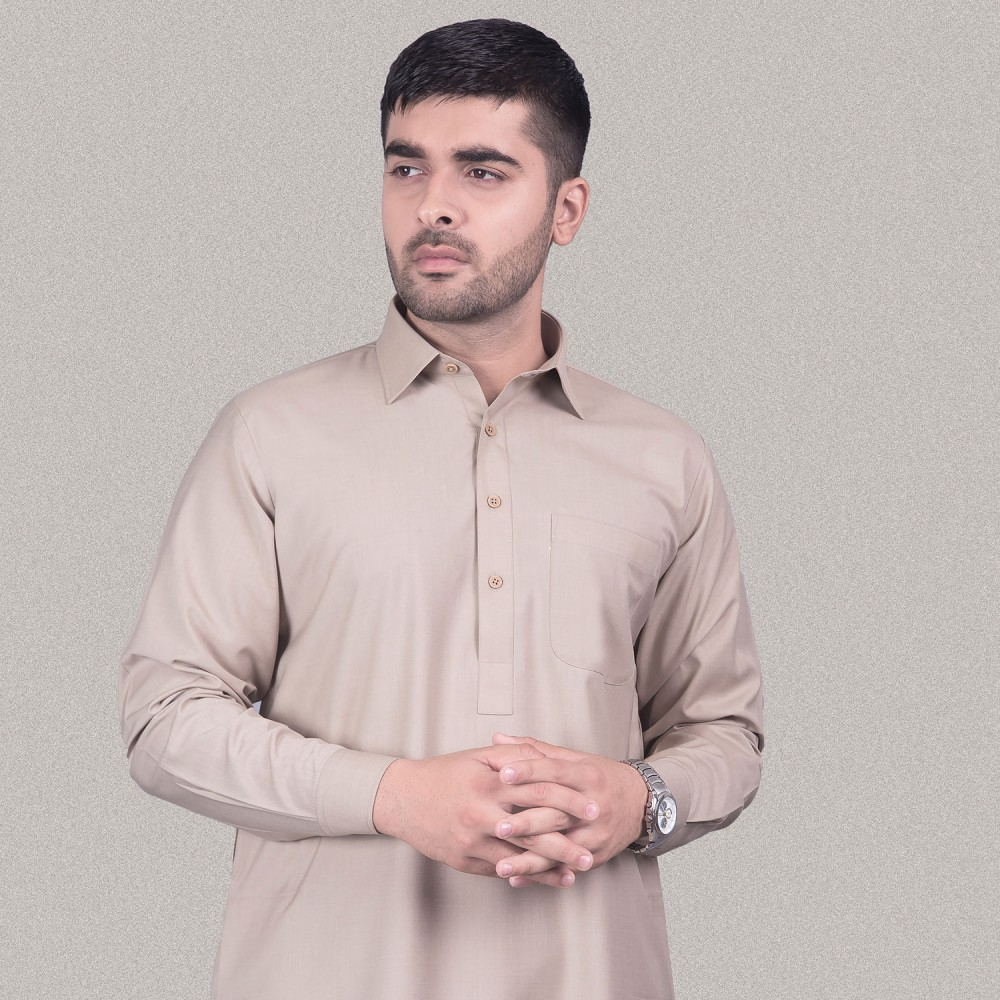 Wheat Brown, End on End Textured, Poly Viscose  Kashgar Shalwar Kameez
