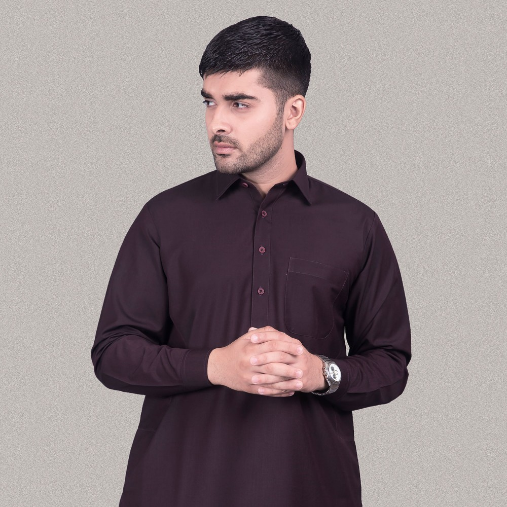 Deep Maroon, End on End Textured, Poly Viscose Kashgar Shalwar Kameez