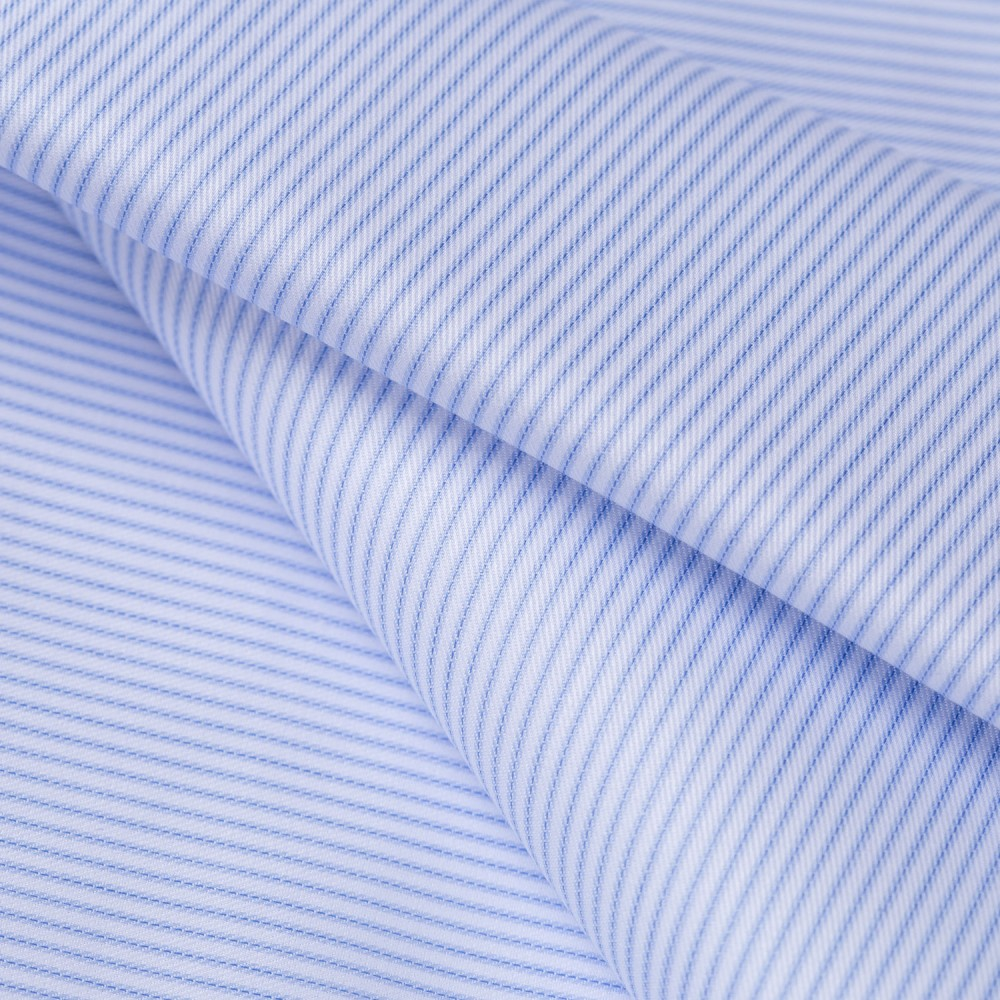 Mid Blue Stripes on White Base, Poly Cotton Shirting Fabric
