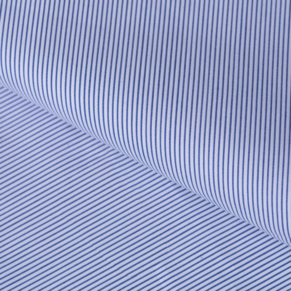 Mid Blue Mini Stripes on White Base, Poly Cotton Shirting Fabric