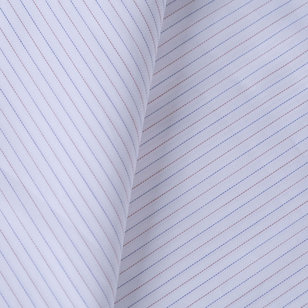 Blue_Red Multi Stripes on White Base, Poly Cotton Shirting Fabric