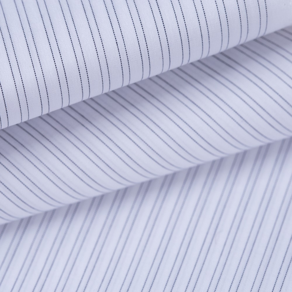 Dark Grey Stripes on White Base, Poly Cotton Shirting Fabric