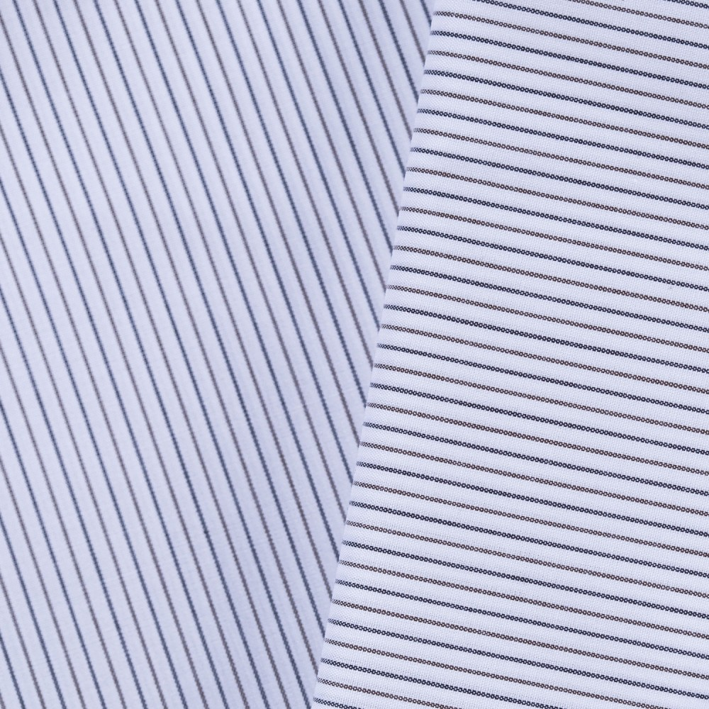 Navy_Brown Multi Stripes on White Base, Poly Cotton Shirting Fabric