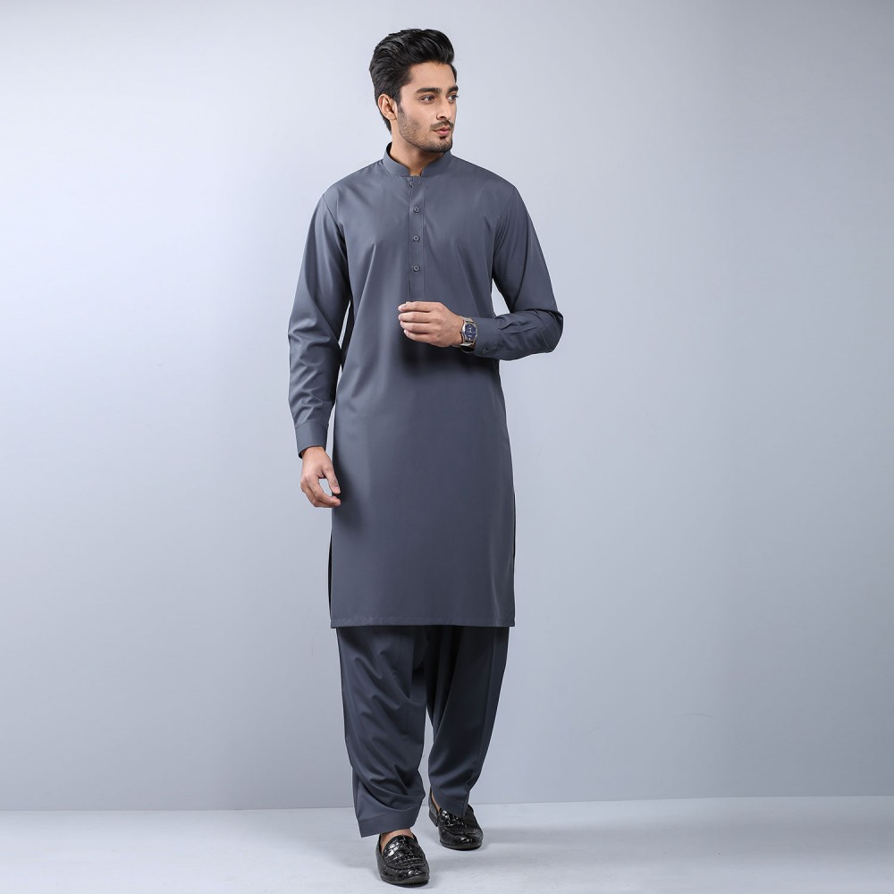 Plain Medium Grey Wash-n-Wear Shalwar Kameez