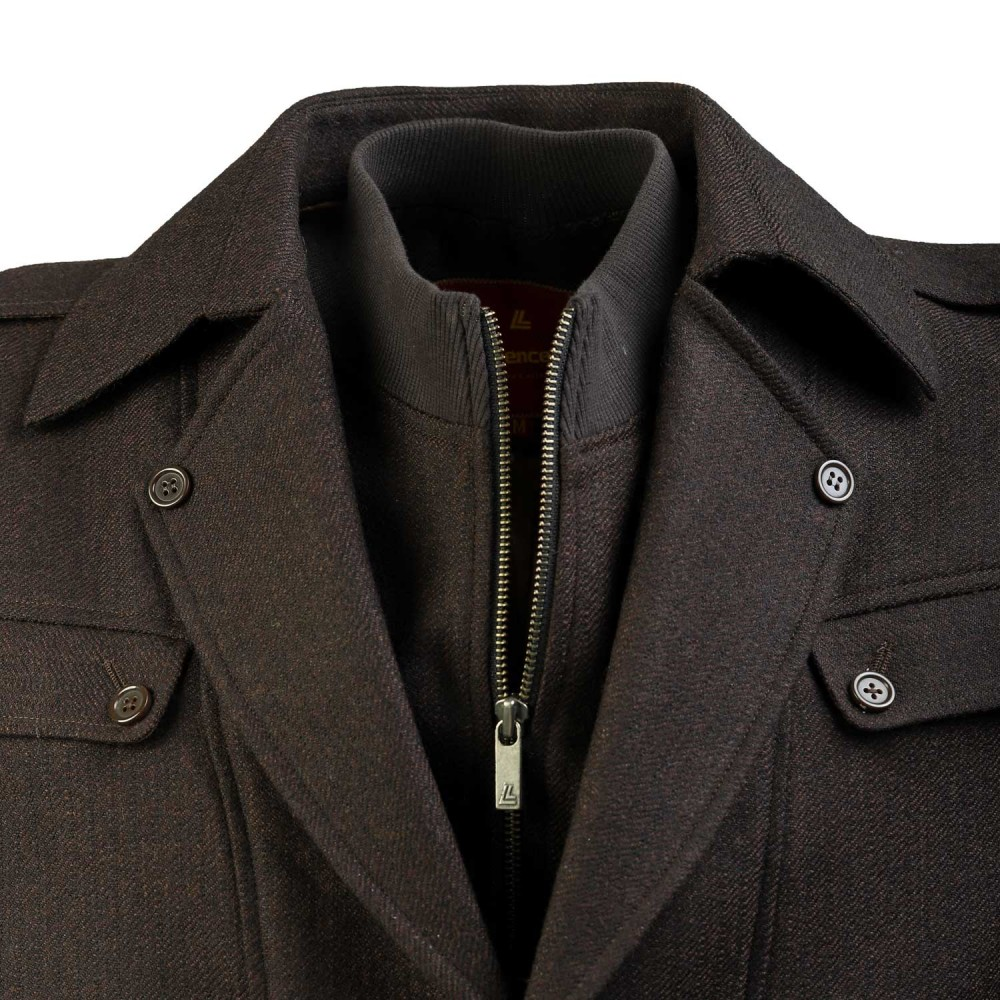 Brown Self Stripe, Wool Rich - Worsted Tweed Double Jacket