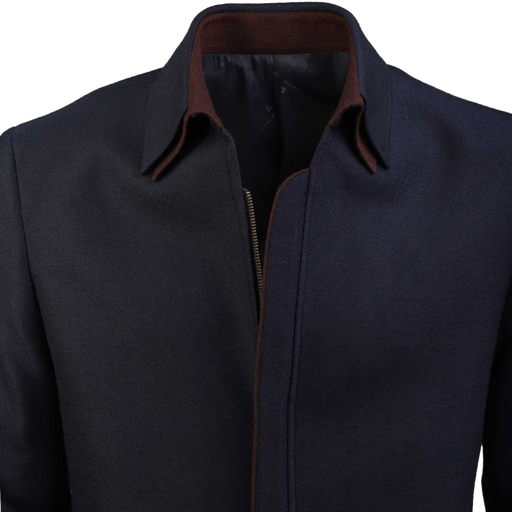 Plain Blue, Wool Rich - Worsted Tweed Double Collar Zipper Jacket