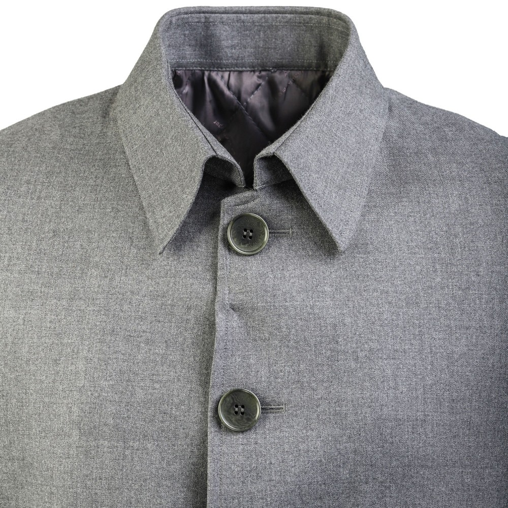 Plain Grey, Super 140's - Wool Cashmere Over Coat