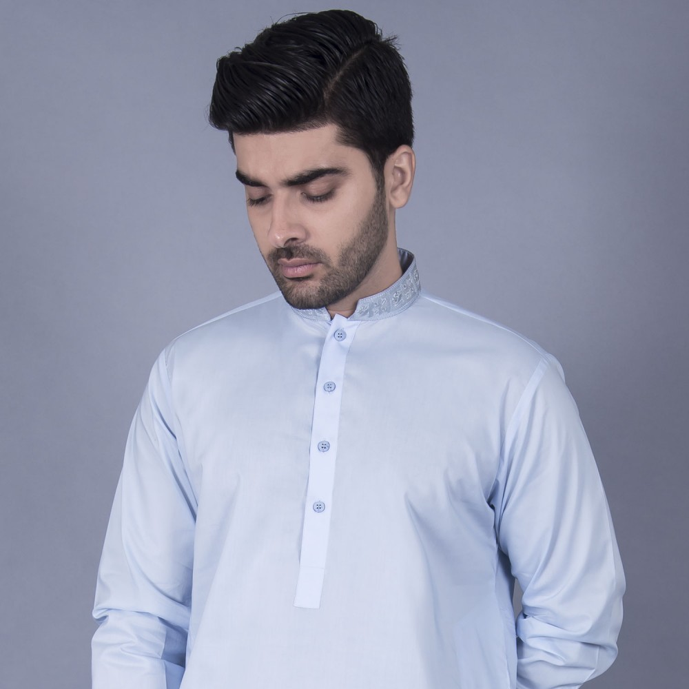 Shalwar Kameez Embroidered - Luxury Egyptian Cotton Blue