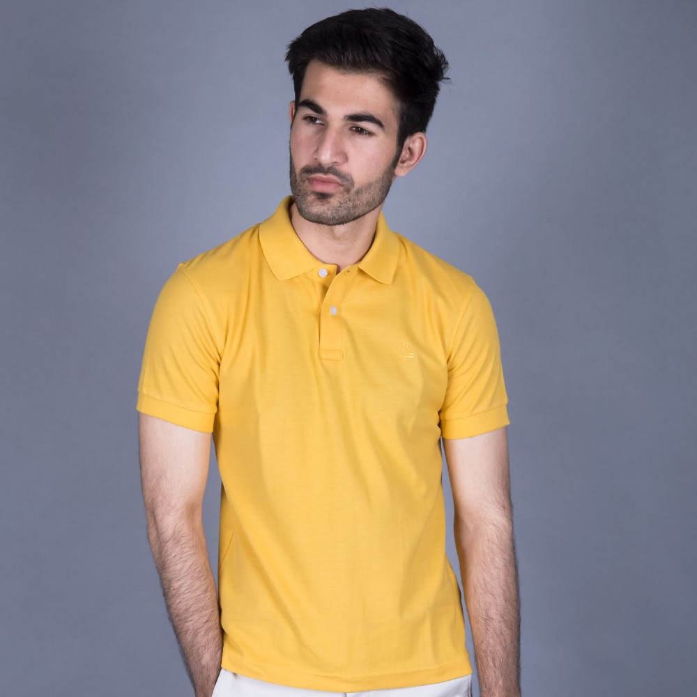 Gold Yellow Pique Polo Shirt