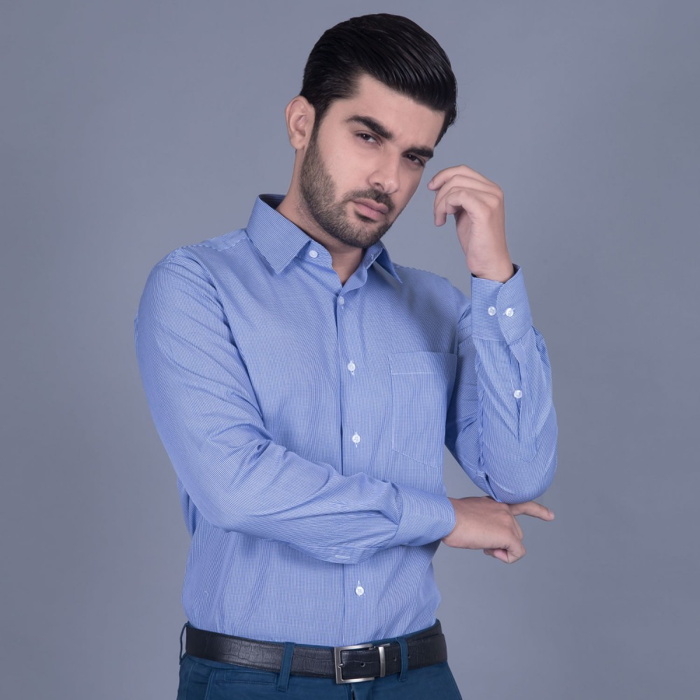 Formal Poly Cotton Shirt in Blue Micro Gingham Checks