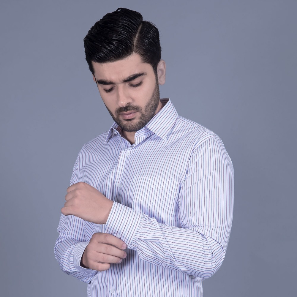 Formal Poly Cotton Shirt in Multi Stripes