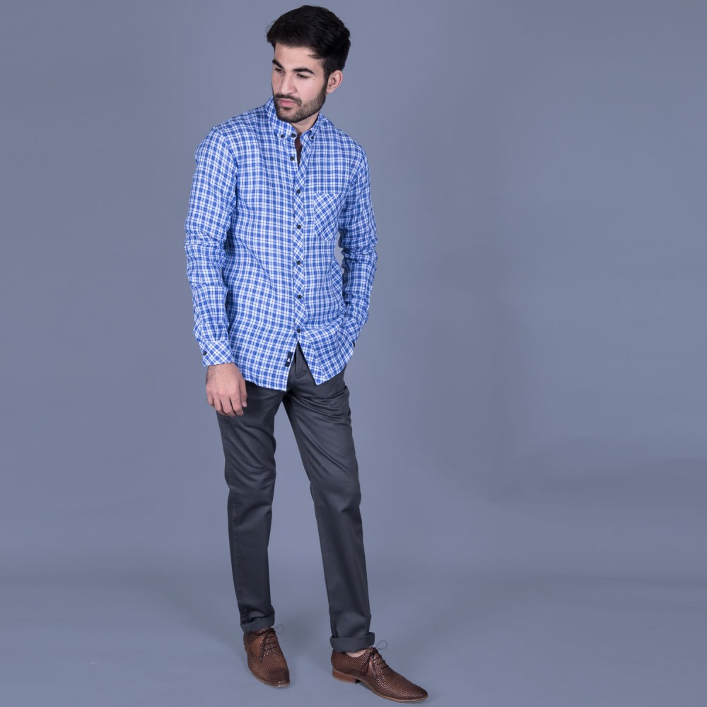 Blue Checks Linen Casual Shirt