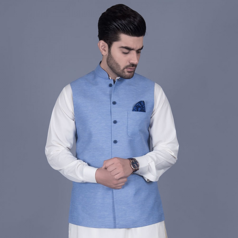 Plain Cornflower Blue Poly Linen Waist Coat