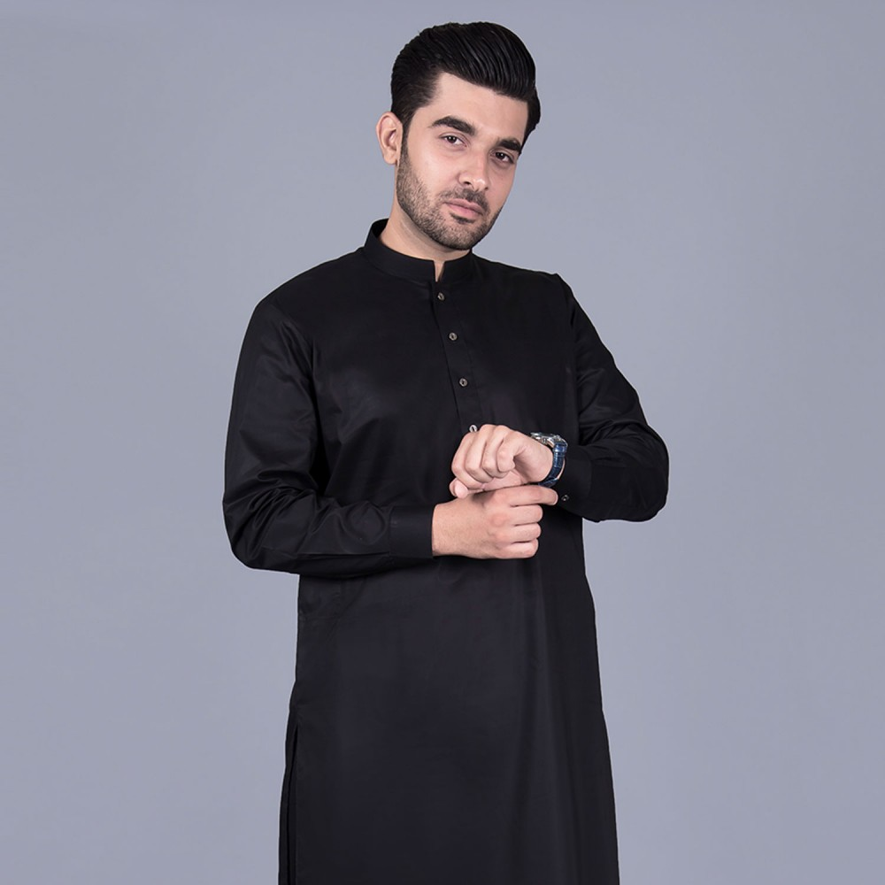 Egyptian Cotton Shalwar Kameez in Plain Black