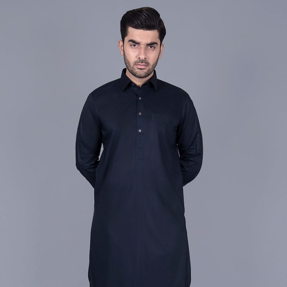 Egyptian Cotton Shalwar Kameez in Plain Midnight Blue