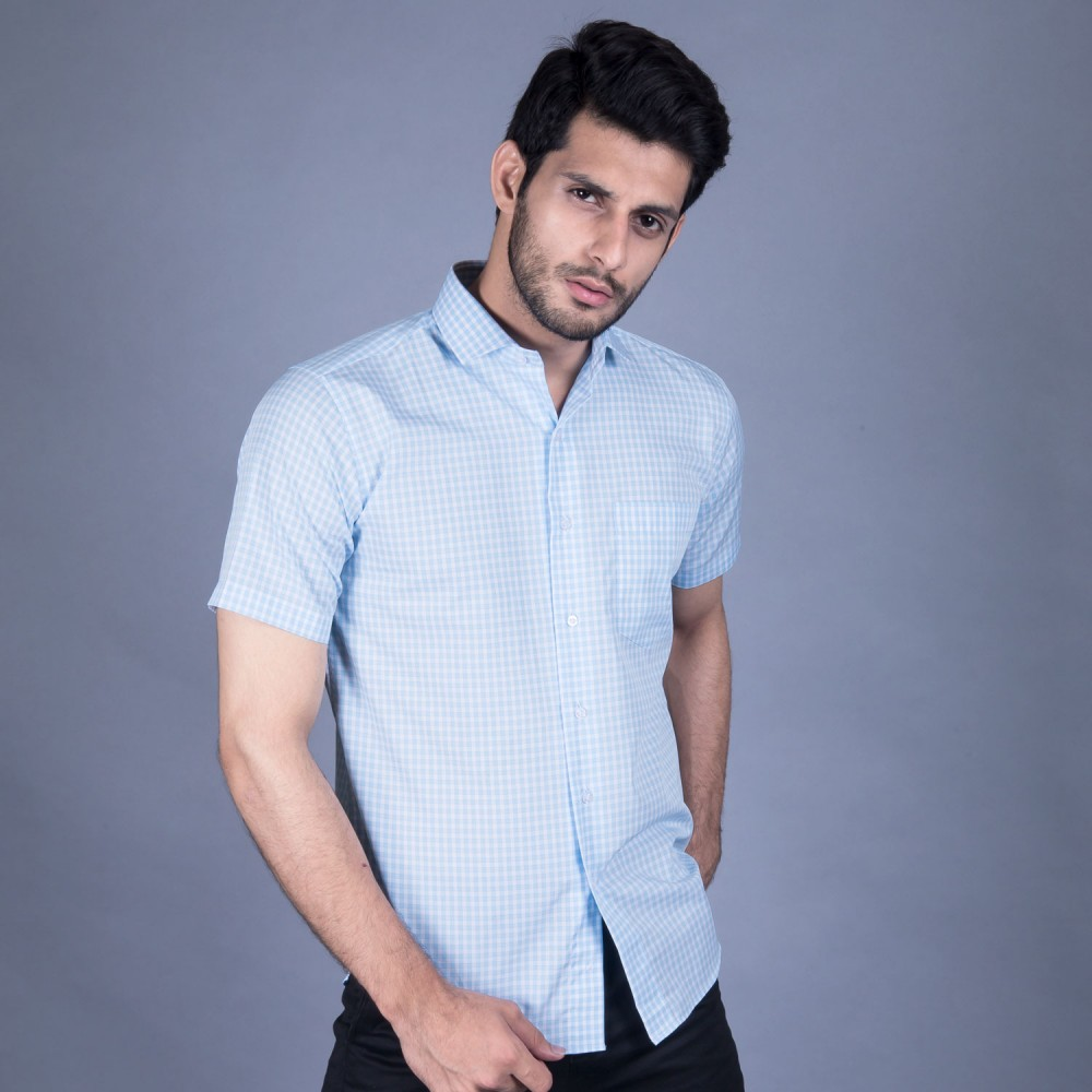 Half Sleeves Shirt - Delta-1 Blue Checks