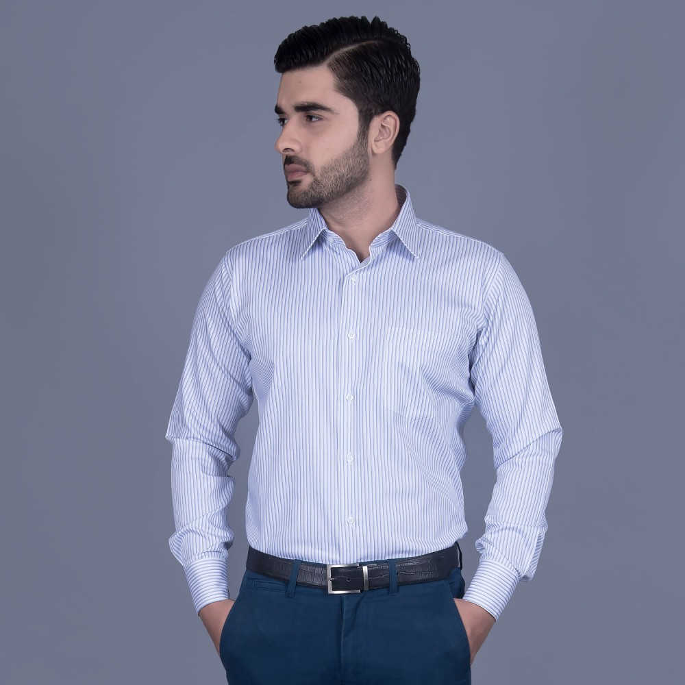 Formal Poly Cotton Shirt in Blue Stripes