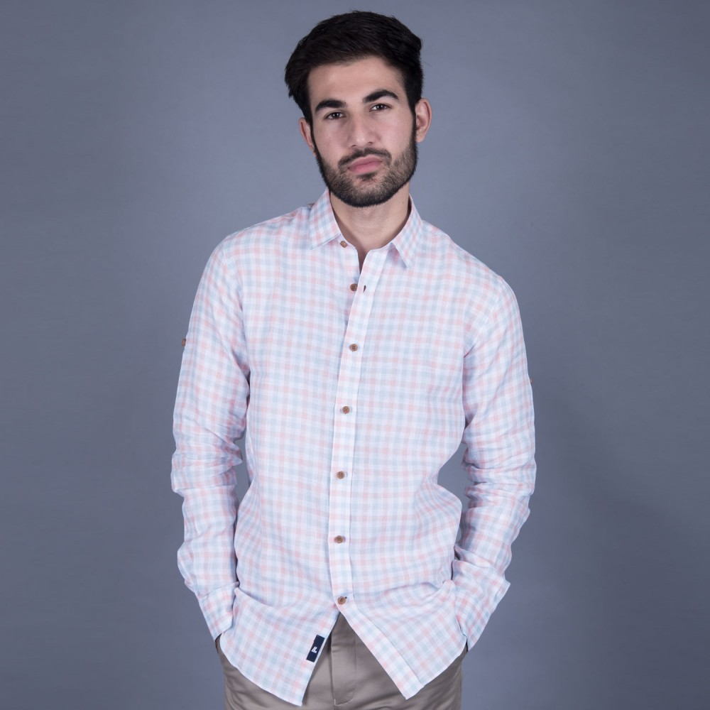 Orange Checks Linen Casual Shirt