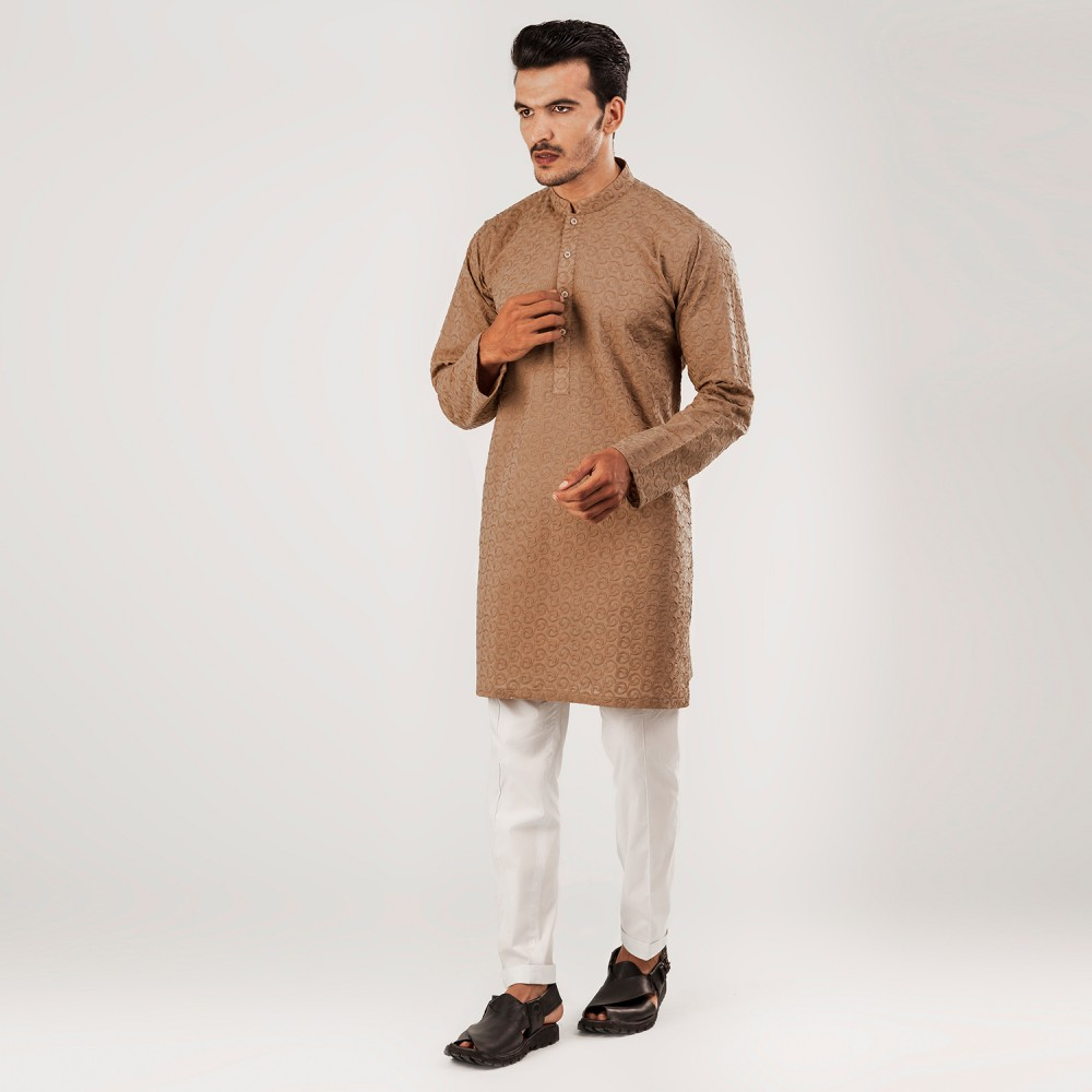 Mid Brown-Self Embroidered (Semicircle Style), 100% Cotton Short Kurta