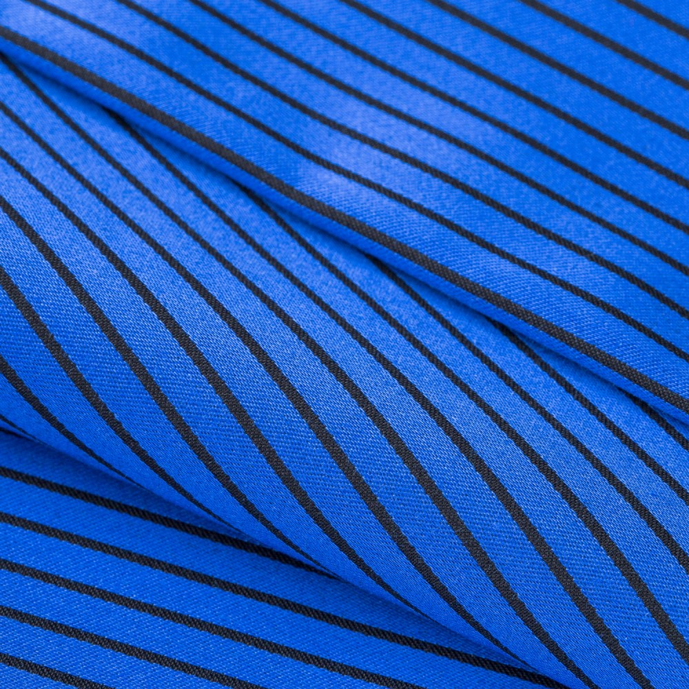 Striped Black on Mid Blue Base, 100% Super Fine Cotton Shirting Fabric