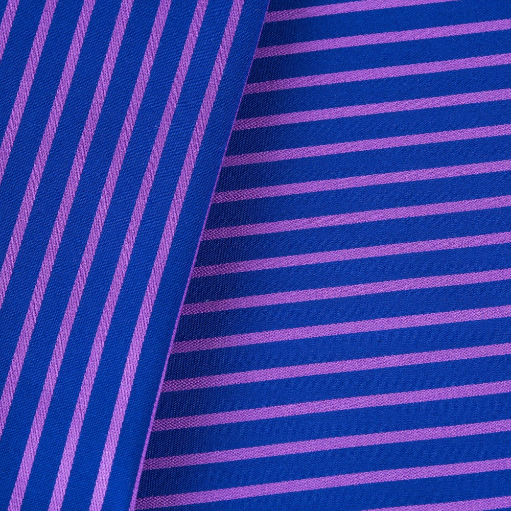 Striped Pink on Dark Blue Base, 100% Super Fine Cotton Shirting Fabric