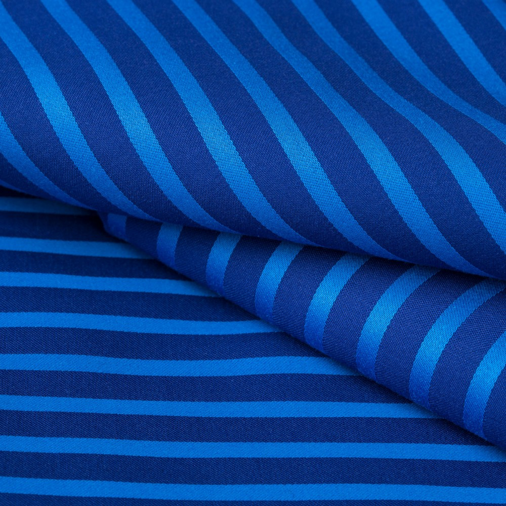Striped Turquoise on Navy Blue Base, 100% Super Fine Cotton Shirting Fabric