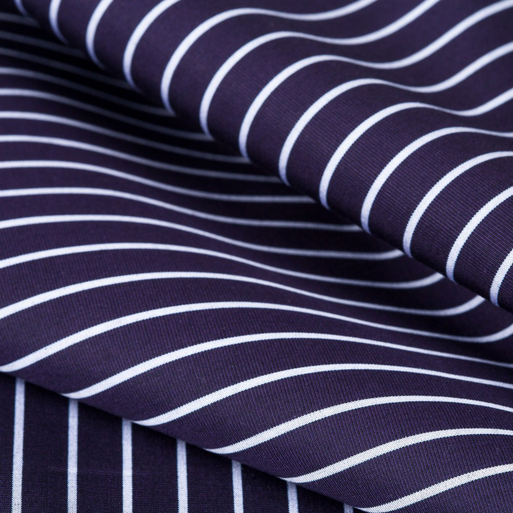 Striped White on Midnight Blue Base, 100% Super Fine Cotton Shirting Fabric