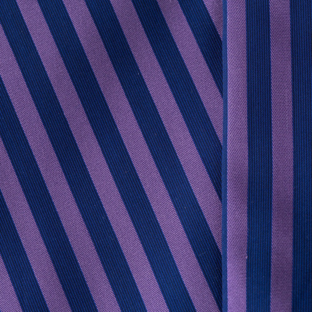 Striped Purple on Navy Blue Base, 100% Super Fine Cotton Shirting Fabric