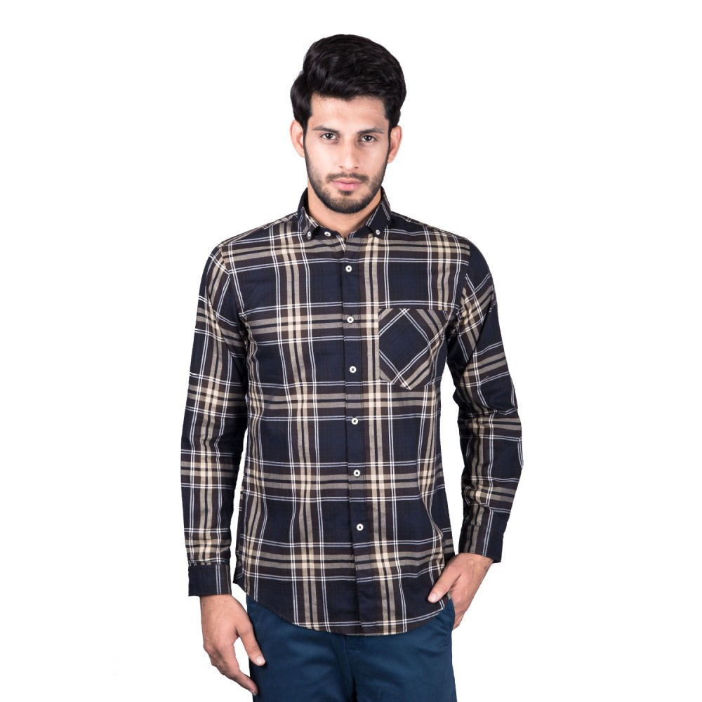 Casual Shirt - Charlie-I Black with White Yellow Multi Check