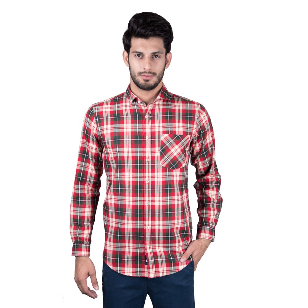 Casual Shirt - Charlie-I Red, Green, Brown, Multi Checks