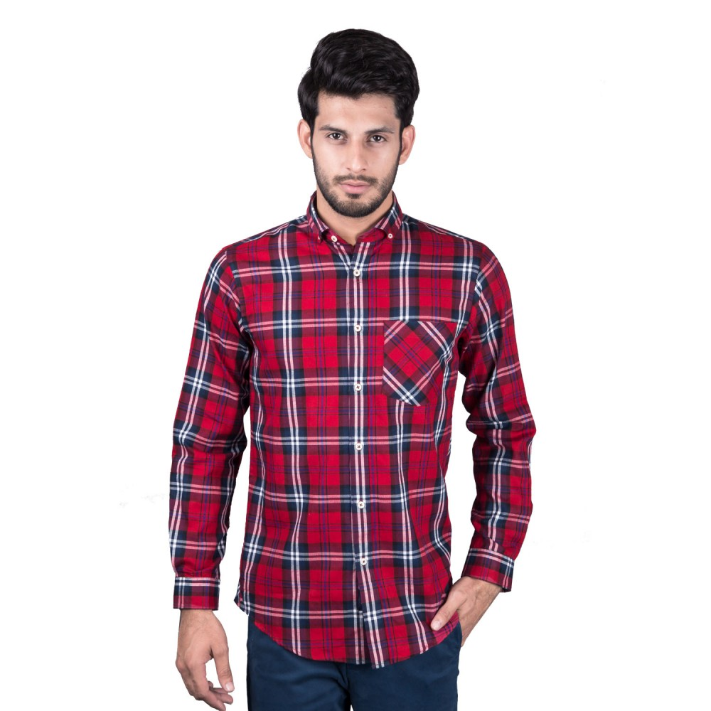 Casual Shirt - Charlie-I Red, Meroon, Blue, White Multi Checks