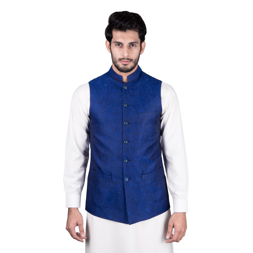 Waist Coat - Jamawar Blue Design