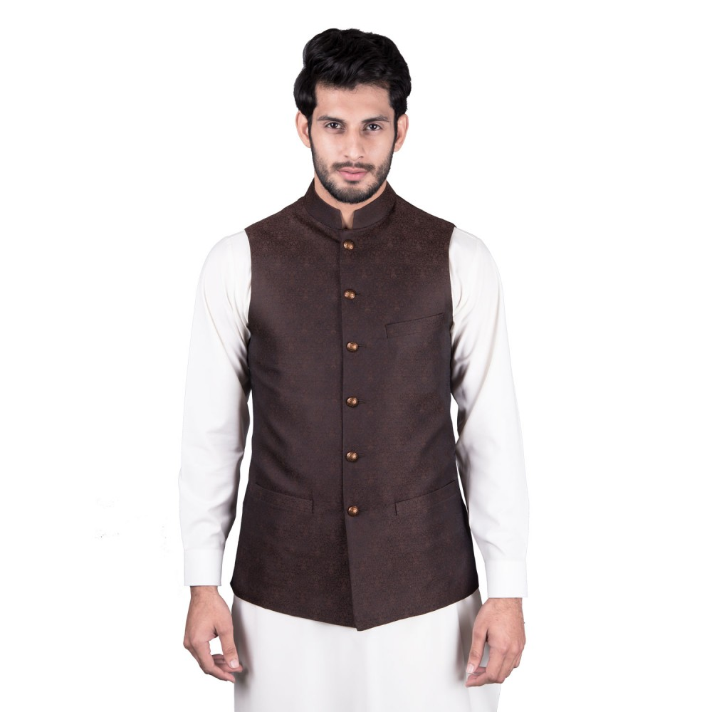 Waist Coat - Jamawar Brown Design