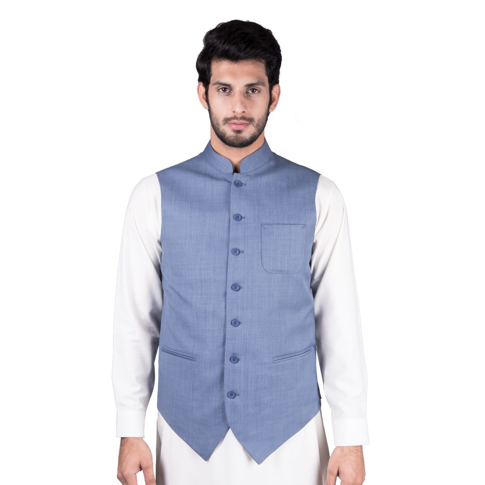 Waist Coat - Linwool Bluish Grey Plain