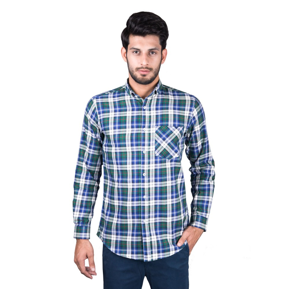 Casual Shirt - Charlie-I Blue, Offwhite, Black Multi Checks