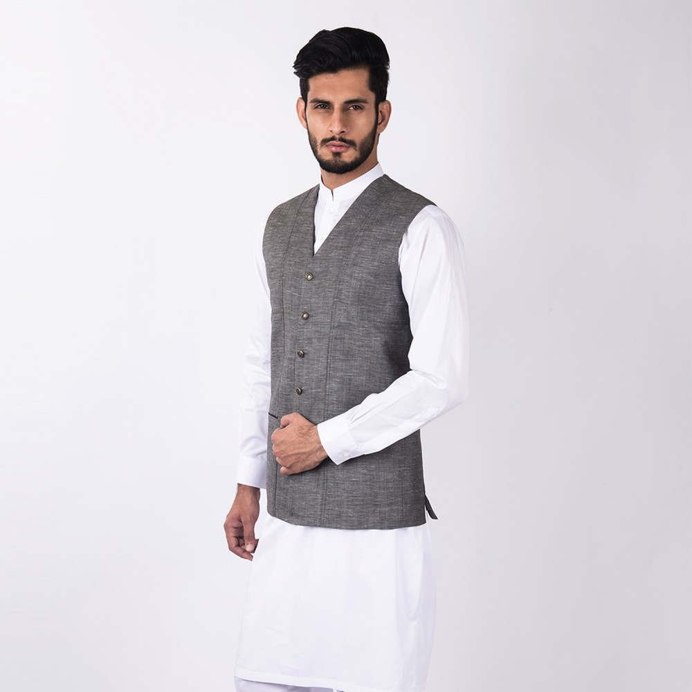 Waist Coat - Linwool Medium Grey Plain