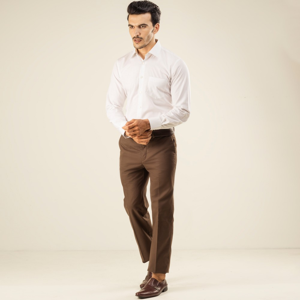 Plain Twill-Chocolate Brown, Tailor Fit, Wrinkle Free Trouser