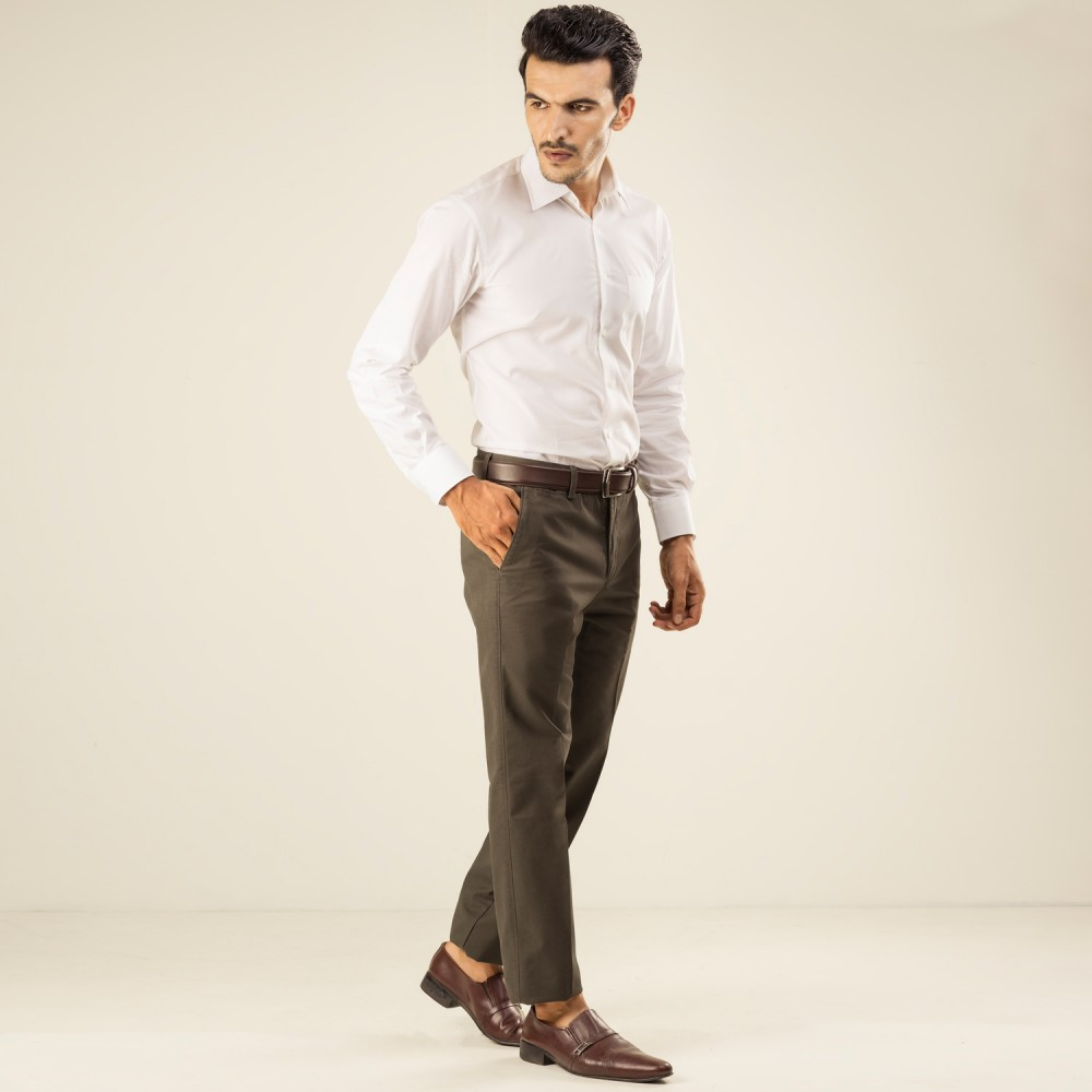 Plain Twill-Olive, Tailor Fit, Wrinkle Free Trouser