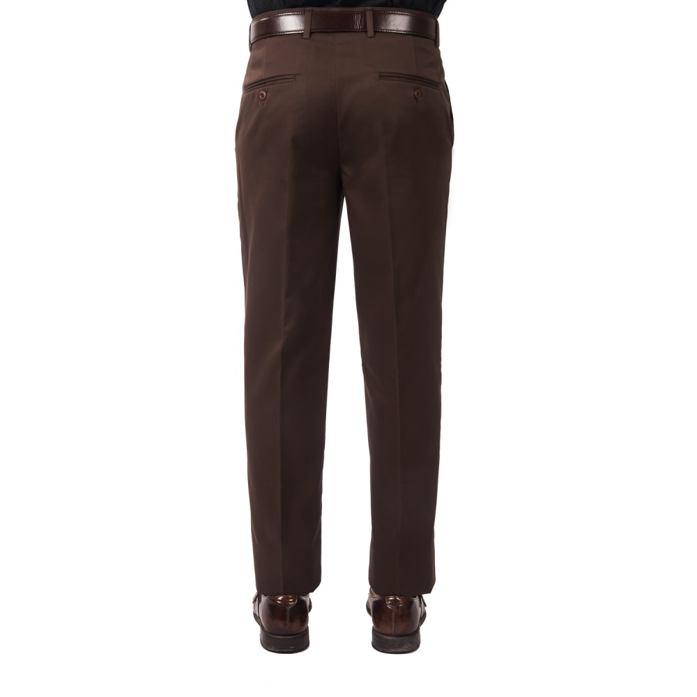 Trouser - 100% Cotton Easy Iron Dark Brown Plain - Slim