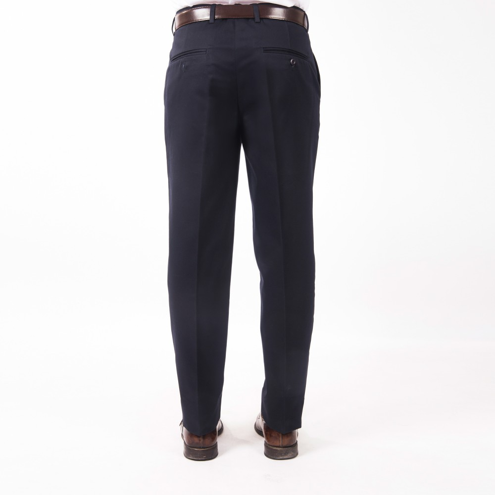 Trouser - 100% Cotton Wrinkle Free Blue Plain - Regular