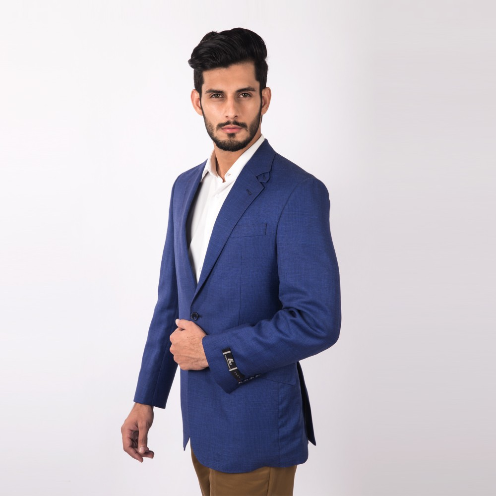 Jacket Linwool Royal Blue Plain - Regular