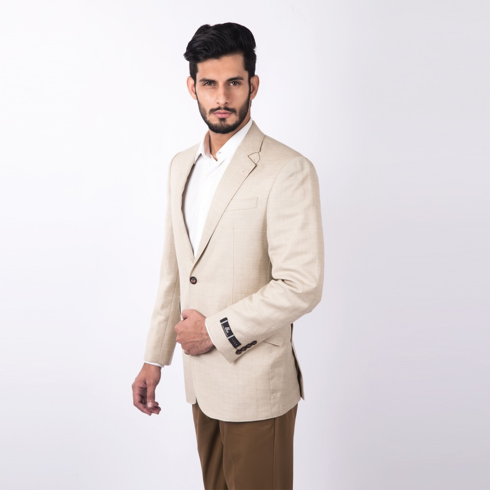 Jacket  Linwool Beige  Plain - Regular