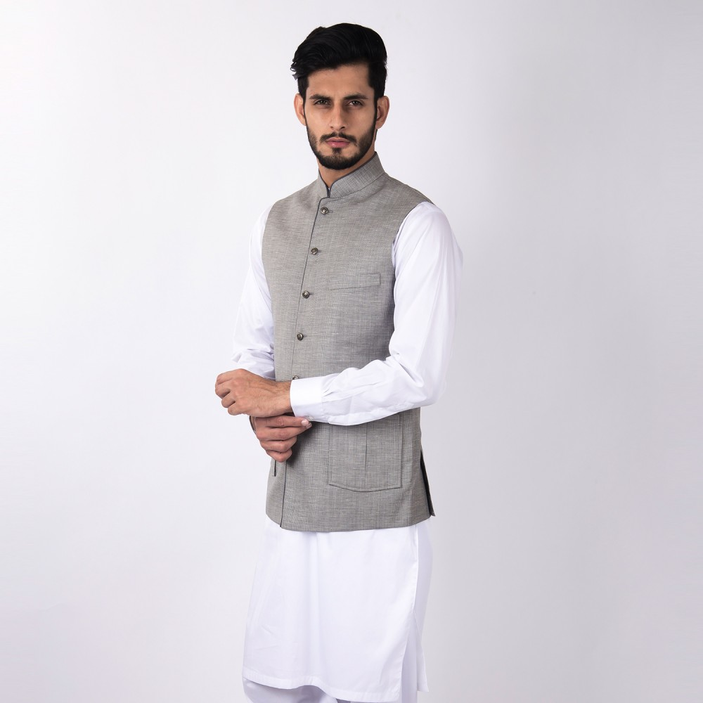 Waist Coat - Linwool Light Grey Plain - Regular