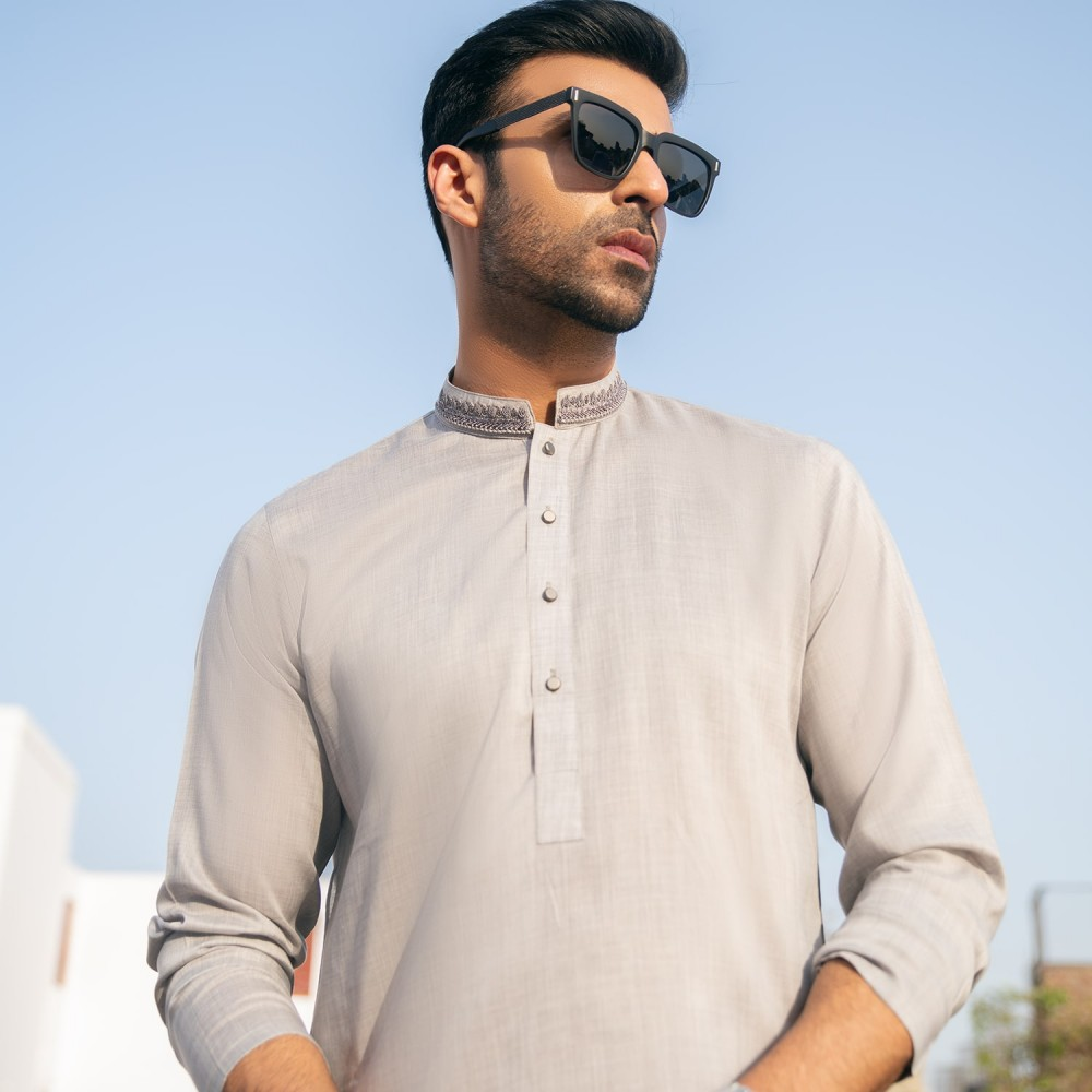 Plain-Silver Grey, Yarn Dyed Chambray Cotton Embroidered Kurta