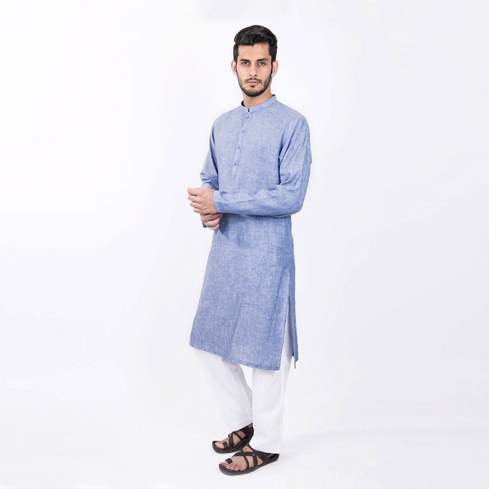 Kurta - Pure Linen Medium Blue Plain