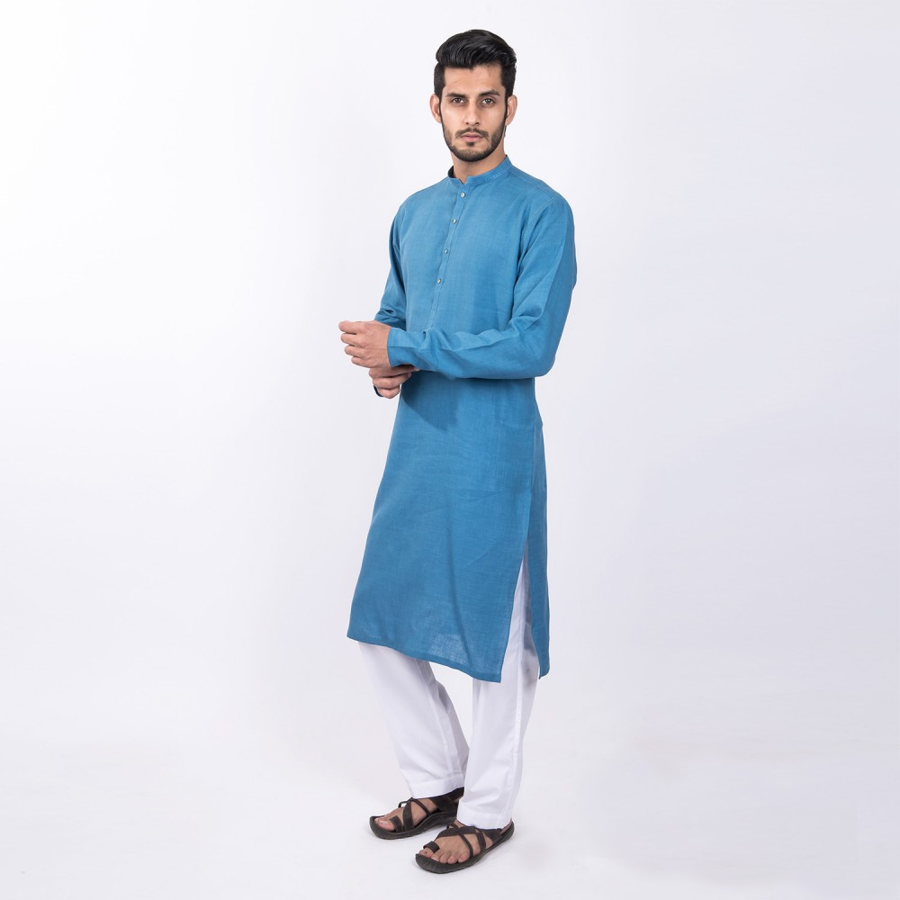 Kurta - Pure Linen Blue Textured