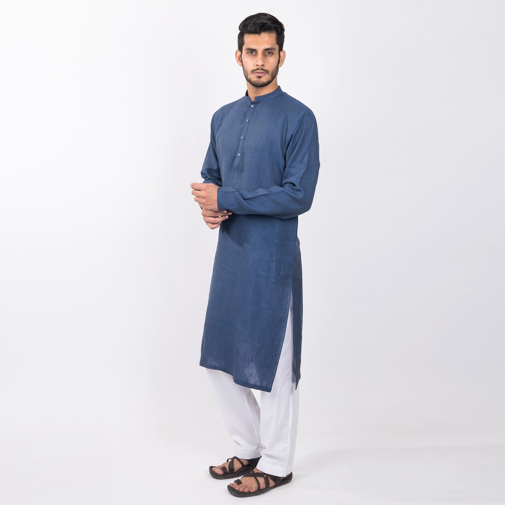 Kurta - Pure Linen Green Plain
