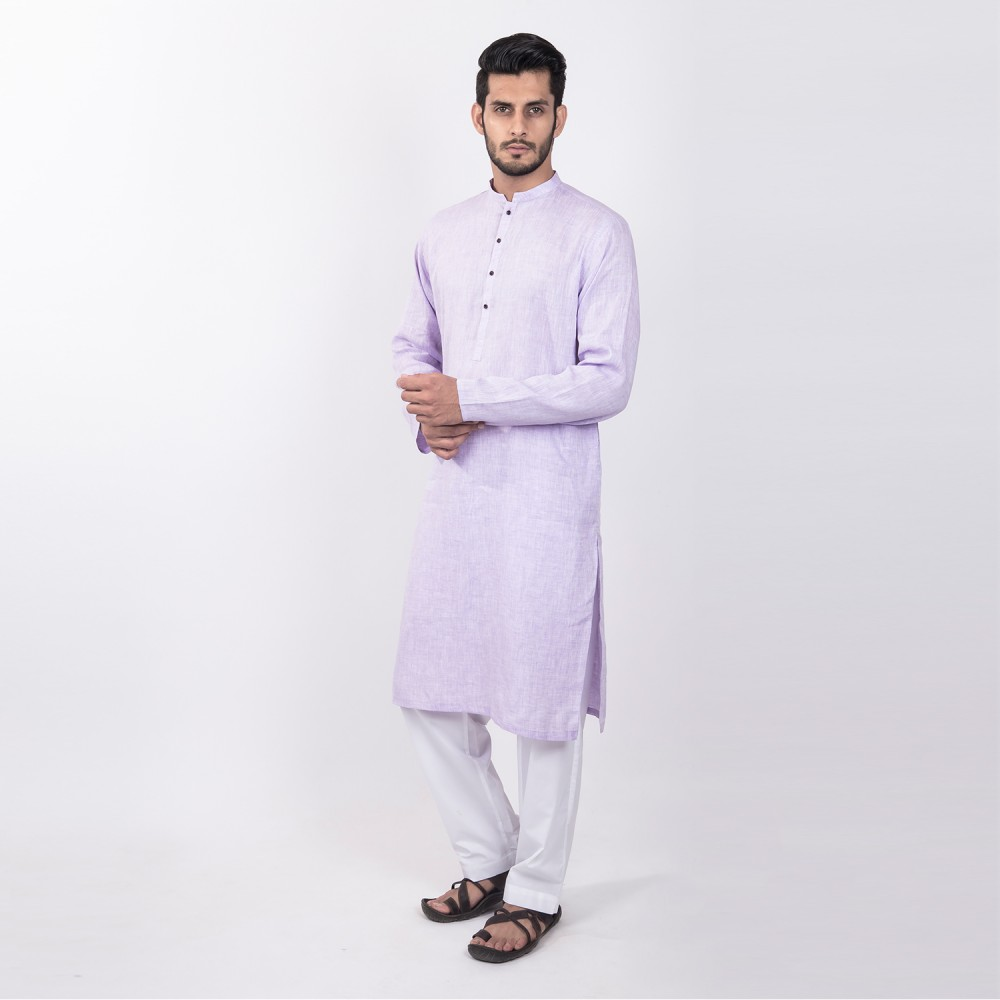 Kurta - Pure Linen Purple Plain