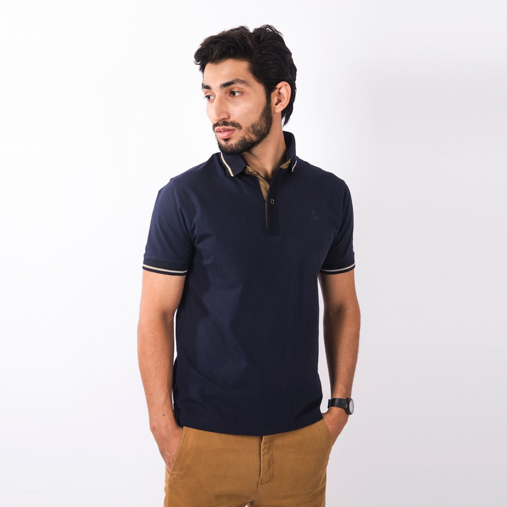 Polo-Shirt - Cotton Lycra Blue Plain - Slim