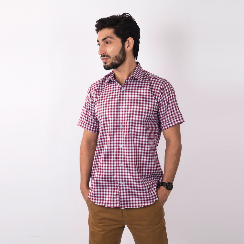 Half Sleeves Shirt Charlie Red Blue Checks - Regular